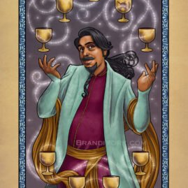The Nine of Cups card with a merchant magically juggling 9 golden cups