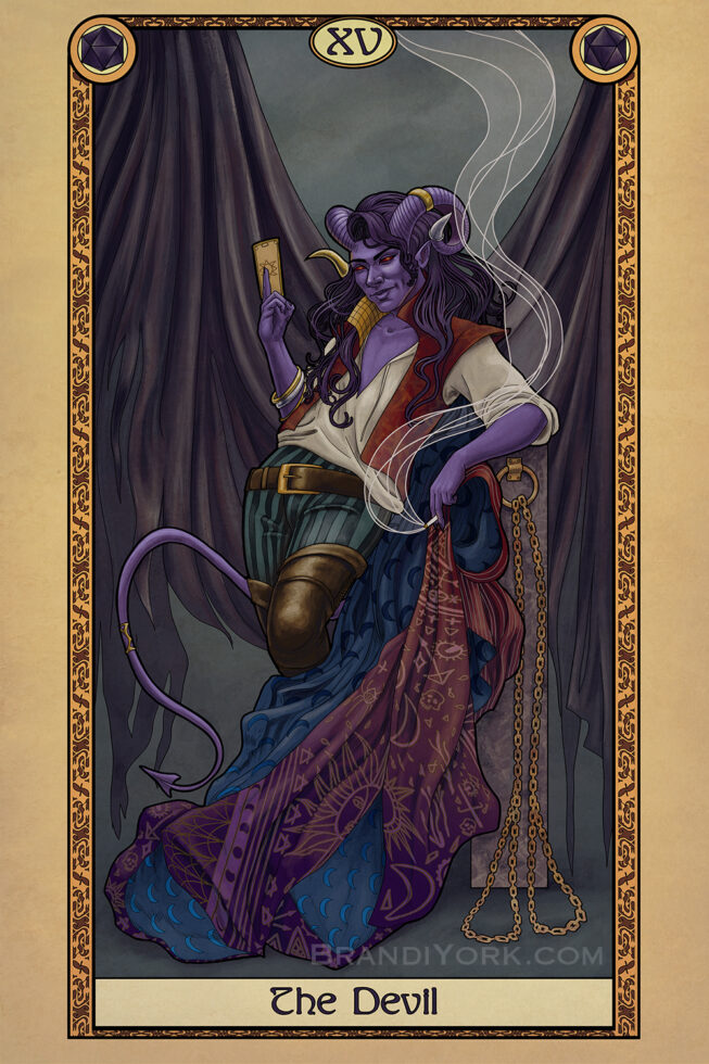The Devil Card of the Tabletop Tarot deck, featuring an ostentatiously dressed purple tiefling stands, leaning against a post with two chains attached, though empty. He holds up a fortune telling card in is right hand, his left hanging down with a cigarette between his fingers, mimicking the hand gesture of the Hierophant.