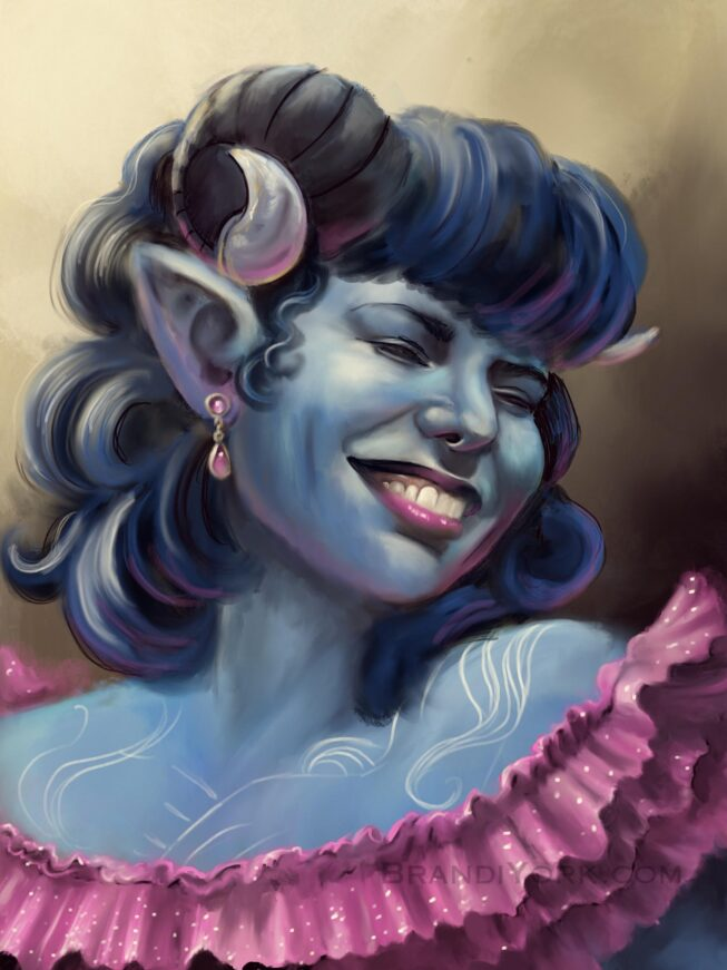 Portrait painting of Jester smiling, wearing a pink frilly gown.