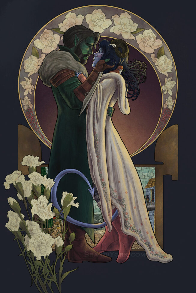 Fjord and Jester stand close together, Fjord's hand on Jester's face. Sprinkle the weasel pops out of Jester's hood and Jester's tail wraps up near Fjord's leg. The background has a ring of flowers and a stained glass of the window in Jester's room in Caleb's tower. In front are carnations.