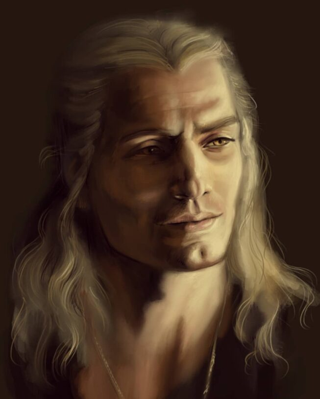 Painted portrait of Henry Cavill as Geralt of Rivia