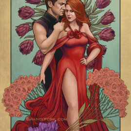 Black Widow stands in a flowing red gown with her hand on her hip, her other hand reaching back to grasp Hawkeye's thigh. Hawkeye stands behind her, a hand on her shoulder. Flowers surround them.
