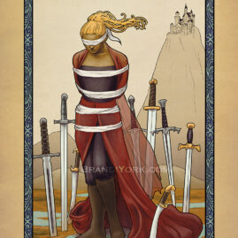 A woman stands in a bog bound and blindfolded, surrounded by eight swords. Behind her in the distance is a castle sitting on a hill.