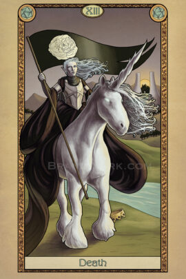 Death rides upon a large white unicorn, carrying a black flag with a white rose. At the unicorn's feet, a discarded crown is trampled. Behind her, the sun sets between two gates in the distance.