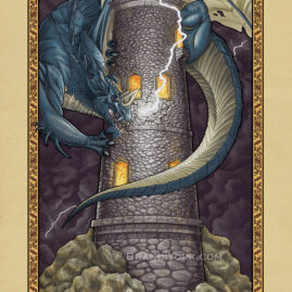 Lighting strikes a crumbling tower as a blue dragon latches onto the side of the tower. Flames glow from within the tower's windows.