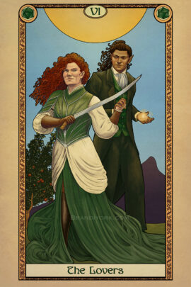 A man and woman stand, hands clasped, as they prepare for battle. The woman with red hair holds her sword aloft, while the half elf man holds a ball of magic in his hand. Behind them is a sun, mountains, and a tree with apples.