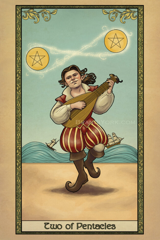 The gnome bard dances with his lute, singing a magical melody that enchants two pentacles to rise into the air. Behind him, two ships sail on rocky seas , finding balance in the chaos.