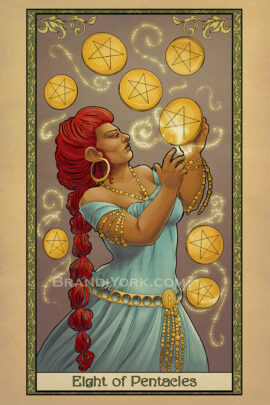 The dwarven mage practices her art, inscribing the details onto eight floating pentacles.