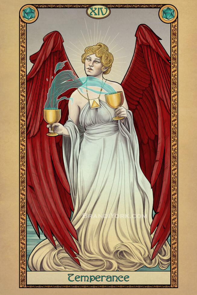 A red winged angel stands with a golden cup in each hand, water magically flowing between each.