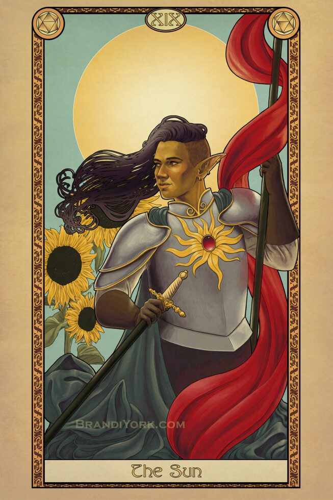 A warrior in silver armor emblazened with a golden sun carries aloft a red flag. Behind them, the sun shines brightly down on the warrior and the sunflowers.