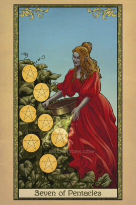 A half orc stands in a red gown, tending to her crop of pentacles