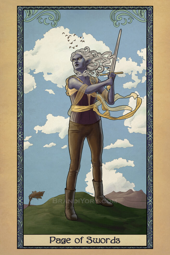 A dark elf holds aloft a sword, her hair and sashes streaming in the wind as she stands on a hilltop, clouds rolling by behind