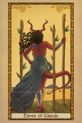 A red-skined figure with horns stands with her back to the viewer, facing out over a sunset ocean, boats upon the water. She rests one hand on her hip, the other on one of three staves jutting out of the ground.